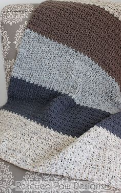 Striped crochet blanket pattern  neutral  modern by Rescued Paw Designs