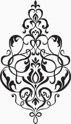 Kleine Damaris Wall Decal Vinyl Aufkleber von NothinbutVinyl Little Damask Wall Decal Vinyl Sticker by NothinbutVinyl Damask Wall, Damask Stencil, Stencil Patterns, Stencil Designs, Embroidery Patterns, Damask Patterns, Decoupage, Motif Baroque, Stencils