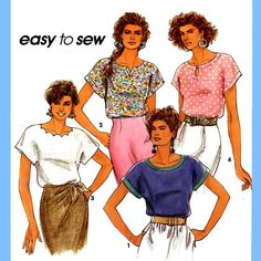 121 Simplicity 7768 Womens Pullover Tops Shirt Blouse Short Kimono Sleeves 6 to 16 Bust 30.5 to 38 Vintage Sewing Pattern Uncut by ladydiamond46 on Etsy