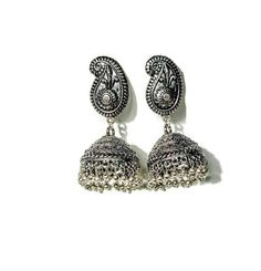 Free Shipping! Oxidized silver jhumka earrings by GlamInfinity on Etsy