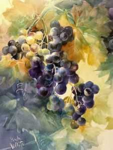 Hand-painted porcelain tile of black grapes by porcelain artist and china painting teacher, Paula White