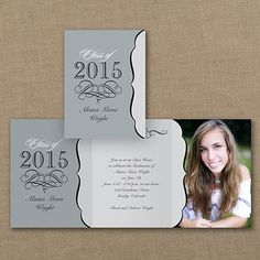 Soft grey calligraphy scrolls and a classic crest - vintage. Four of your favorite photos and your graduation announcement - so you!