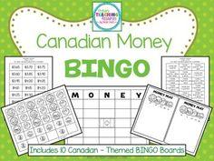 $ Canadian Money BINGO Money Bingo, Money Games, Primary Teaching, Teaching Resources, Money Activities, Canadian Coins, Bingo Board, Calling Cards, Financial Literacy