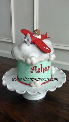 Airplane Birthday Cake - Cake by Shannon Bond Cake Design Helicopter Birthday, Airplane Birthday Cakes, Airplane Cakes, Baby Boy 1st Birthday, First Birthday Cakes, Baby Boy Cakes, Cakes For Boys, Vintage Airplane Party, Planes Cake