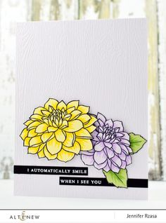 Layered blossoms are beautiful when done in different colors. Jennifer uses Dahila Blossoms Stamp Set to create this card. www.altenew.com