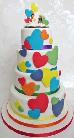 Fun Rainbow Heart Wedding Cake and Lego topper - lego wedding cake - lego cake pambakescakes pam bakes cakes. it's got legos.so it kinda sticks with the theme.but seriously i would take this for a birthday cake. Lego Wedding Cakes, Heart Wedding Cakes, Round Wedding Cakes, Pretty Cakes, Beautiful Cakes, Amazing Cakes, Fondant Cakes, Cupcake Cakes, Valentines Day Cakes