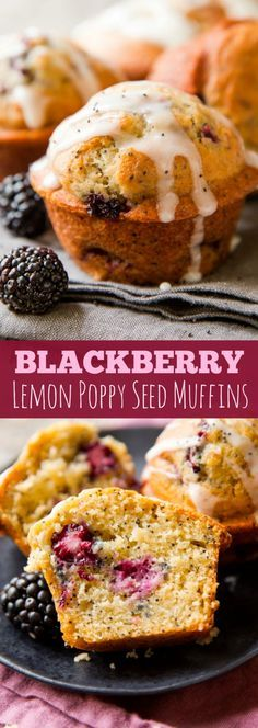 Blackberry Lemon Poppy Seed Muffins - Greek yogurt keeps them extra moist, blackberries bring a whole new taste, and lemon glaze completes it all!