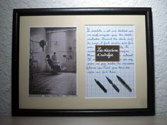 Le métier de dentiste tableau rétro humoristique écrit à la plume avec photo ancienne : Décorations murales par redactions-d-autrefois