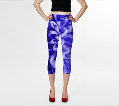 "Capris+""Blue+Chrysanthemum+Capris""+by+Blooming+Vine+Design"