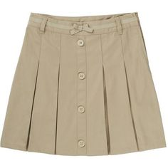 French Toast Girls' Bow Front Pleated Scooter Skirt (Beige Or Khaki, Size 4 Youth) - School Uniforms, Girls Uniform Bottoms at Academy Sports