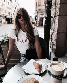 Coffee shop denim jeans summer style fashion spring hair sunglasses sunnies cappuccino croissant
