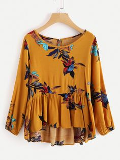 Shop Floral Print Frill Dip Hem Blouse online. SheIn offers Floral Print Frill Dip Hem Blouse & more to fit your fashionable needs.