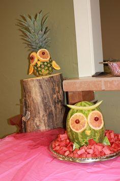 owl baby shower fruit