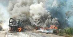 Três morrem em explosão após acidente envolvendo quatro caminhões e uma pick-up