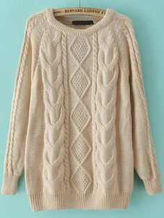 fall fashion, cable knit loose sweater, apricot sweater - Crystalline