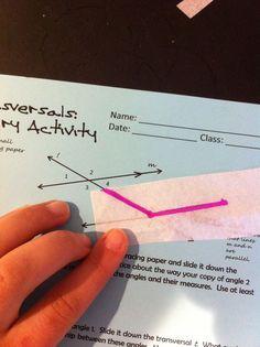 Transversals & Parallel Lines Inquiry Activity -blog post