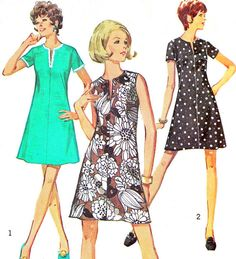 Dress Pattern Simplicity 8702 Mod A Line Split Neck Jiffy Dress Womens Vintage Sewing Pattern Plus Size Bust 45 Simplicity Sewing Patterns, Dress Sewing Patterns, Vintage Sewing Patterns, Clothing Patterns, 1970s Dresses, Vintage Dresses, Vintage Outfits, Clothes Crafts, Sewing Clothes