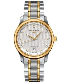 Longines Watch, Men's Swiss Automatic Master Diamond Accent 18k Gold and Stainless Steel Bracelet 39mm L26285777
