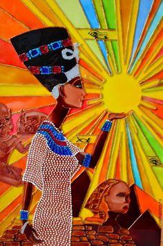 Купить Витражная картина «Нефертити» - Витражная роспись, витражная роспись египет, картина нефертити, нефертити
