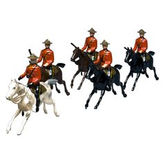 Britains Ltd. Toy Soldier Set of Royal Canadian Mounted Police  England  1945-1960  Hand-painted lead alloy toy soldiers by Britains Ltd. of London. This is set #1349, Royal Canadian Mounted Police on galloping horses (two brown, two black and the officer's grey).