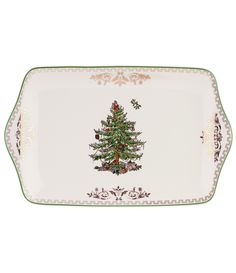 Bring festive holiday cheer to your dessert table with the Spode Christmas Tree Gold Dessert Tray. The ever-popular seasonal design is hand decorated with a plump Christmas tree on a cream base and framed with a touch of gold. Christmas Tree Collection, Christmas Tree Images, Spode Christmas Tree, Christmas Tree Design, Christmas Dishes, Christmas Decorations, Merry Christmas, Christmas History, Celebrating Christmas
