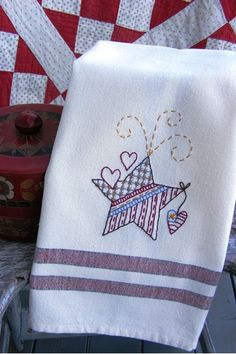 Embroider a new towel for this years BBQ with the gang on July 4th.  A great patriotic star with hearts to celebrate the holiday....make some for your friends and family too
