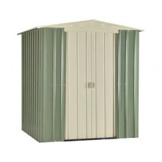 The Lotus mist green and cream 6 foot wide and deep premium apex roof garden shed is manufactured from high tensile, hot-dipped galvanised steel throughout. Shed Organization, Shed Storage, Tall Cabinet Storage, Apex Roof, Steel Sheds, Plastic Sheds, Double Sliding Doors, Sheds For Sale