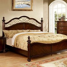 AmazonSmile: Vance Traditional Elegant Style Dark Cherry Finish Cal King Size Bed Frame Set: Furniture & Decor