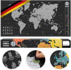 Echt coole Idee um jede Reise direkt festzuhalten. Eine Weltkarte zum Rubbeln. Verschiedene Farben erleuchten beim Freirubbeln und die Karte ist in deutscher Ausführung erhältlich. Klick auf den Link und erfahre mehr! Invitations, Movie Posters, Inspiration, Ideas, Dyes, Blessing, Location Map, Cool Ideas, Packaging