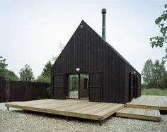Black wooden home. https://www.quick-garden.co.uk/residential-log-cabins.html