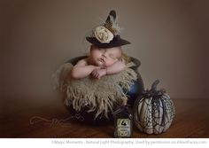 Fun Halloween Photo Ideas - Newborn Portrait by Magic Moments Natural Light Photography via iHeartFaces.com