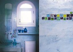 Una casa con estilo propio, decoracion, interiores, muebles Tecno, Bottle Wall, Basement Bathroom, Painting, Bathrooms, Bottles, Ideas, Cement Floors, Bathroom Remodeling