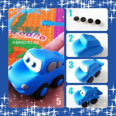 Car Car Cake Toppers, Fondant Cupcake Toppers, Cupcake Cakes, Fondant Figures Tutorial, Cake Topper Tutorial, Fondant Cakes Kids, Cars Cake Design, Car Cakes For Boys, Disney Cars Cake