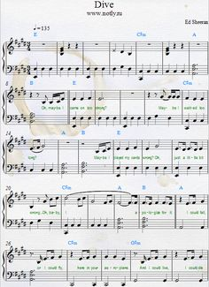 Ed Sheeran — Dive PDF from Divide Piano Sheets Download Sheet Music with Instrumental Guitar Solo Part