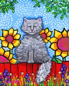 Fluffy Grey Cat on Red Fence and Sunflowers Giclee by AliceinParis,