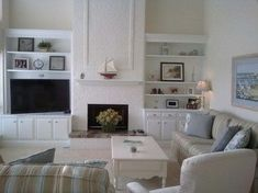 White brick--remodel lake house with board/batten built-ins - traditional - family room - other metro - Interiors by Sherry, Sherry Smith Living Room Furniture Layout, Living Room Remodel, Living Room With Fireplace, New Living Room, Living Room Modern, Living Room Designs, Kitchen Living, Small Living, Fireplace Built Ins
