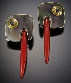 Jeff and Susan Wise : sterling silver & 22K gold. Blue sapphires; black mother of pearl; and red coral.