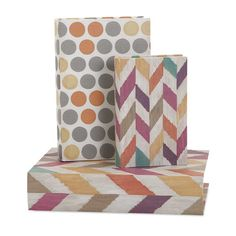 IMAX Confetti Book Boxes - Set of 3 - Celebrate good times and happy memories with a trio of fabric-covered book boxes punched up with polka dots and colorful stripes.