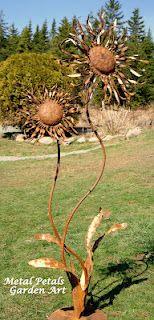 shasta daisies recycled metal garden art metal petals garden art unique home garden decor - Metallic Garden Decor