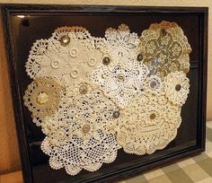 Vintage Doily Shadow Box - This would be great decor in a craft/sewing room, or vintage styled guest room! Framed Doilies, Lace Doilies, Crochet Doilies, Button Art, Button Crafts, Vintage Crafts, Vintage Sewing, Vintage Linen, Doily Art