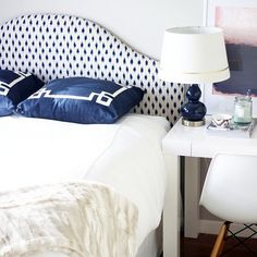 We'd find it hard to get out of the guest bed of @jennirose12 this Monday morning am!! Loving the blue-and-white color palette anchored by the ikat headboard found on One Kings Lane!