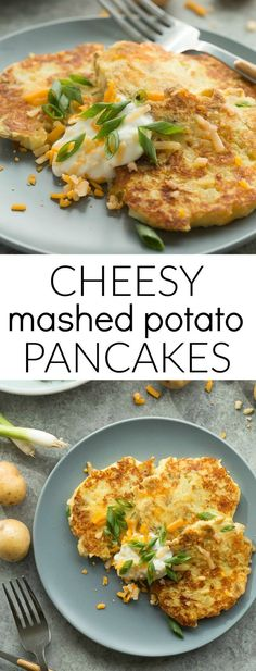 These Cheesy Mashed Potato Pancakes are one of the best ways to use up leftover mashed potatoes! Just 5 ingredients and a few minutes prep.