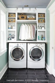 Love the addition of the rod for hanging shirts, etc. in this small laundry space.