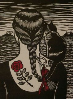 Deborah Klein, Looking back to see… 2011, linocut with chine colle, 38 x 28 cm