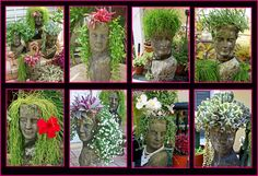 Head Planters by Container Gardening with KatG Succulent Gardening, Succulents Garden, Container Gardening, Organic Gardening, Gardening Tips, Head Planters, Cement Planters, Garden Art, Garden Design