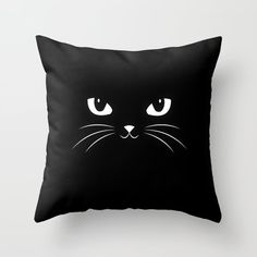Cute Black Cat Throw Pillow by Badbugs_art - # by # . : Cute Black Cat Throw Pillow by Badbugs_art – Sewing Pillows, Diy Pillows, Decorative Pillows, Throw Pillows, Cute Black Cats, Interior House Colors, Cat Pillow, Cushion Pillow, Pillow Room