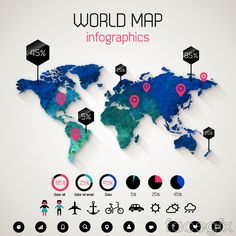 Exquisite world map infographics vector