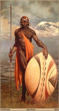 Masai Warrior by Frank Frazetta