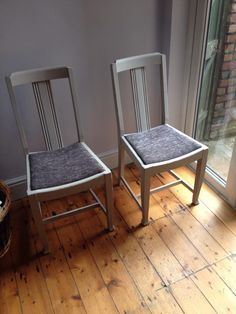 A pair of vintage dining chairs, in Elephant's Breath and reupholstered with silver grey chenille velvet...