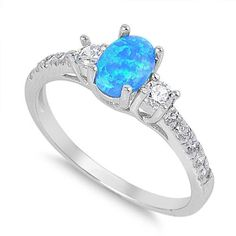1.25 Carat Oval Cut Blue Fire Australian Lab Blue Opal 925 Sterling Silver Round Clear Topaz Diamond Accent Wedding Engagement Dazzling Ring
